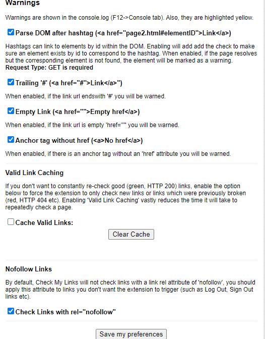 Check My Links options menu
