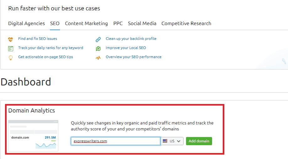 SEMrush domain analytics competitors