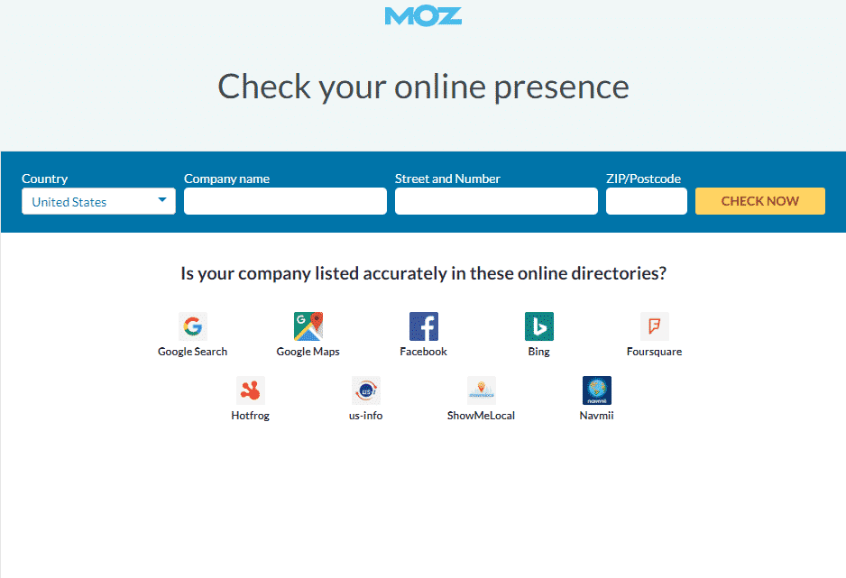 Moz Check Your Online Presence