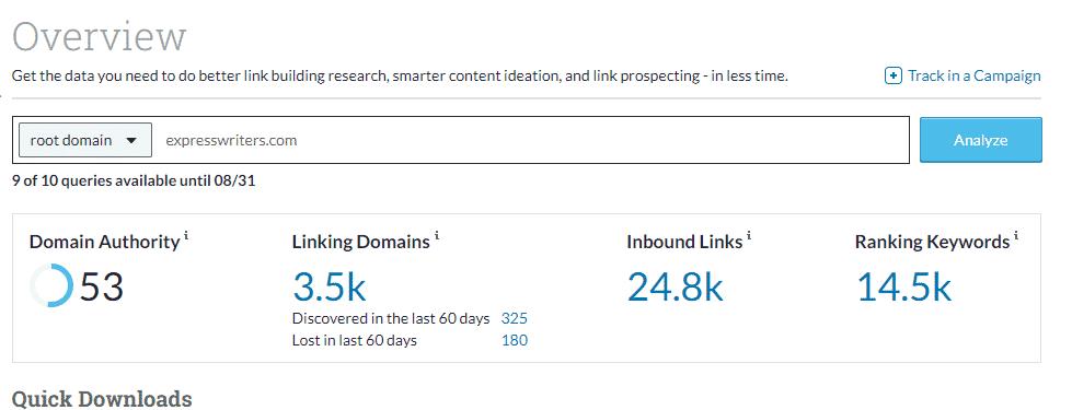 Moz Link Explorer results
