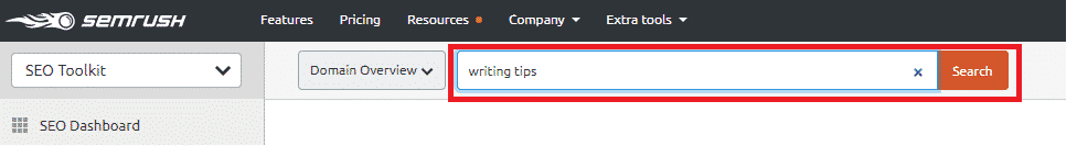 SEMrush writing tips seed keyword