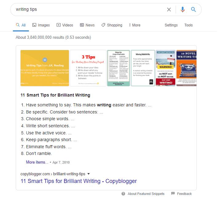 writing tips SERP