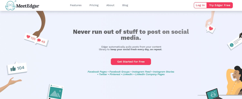 conversion copy on meetedgar's homepage