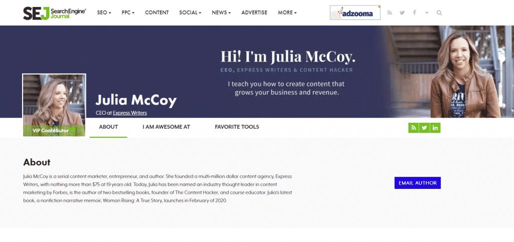 Julia McCoy on SEJ