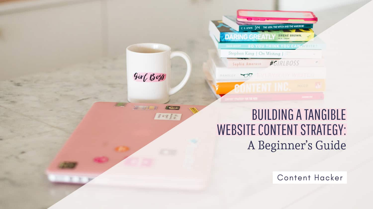 website content strategy - laptop books and coffee cup