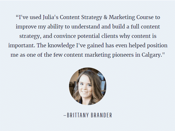 Practical Content Strategy & Marketing Course testimonial
