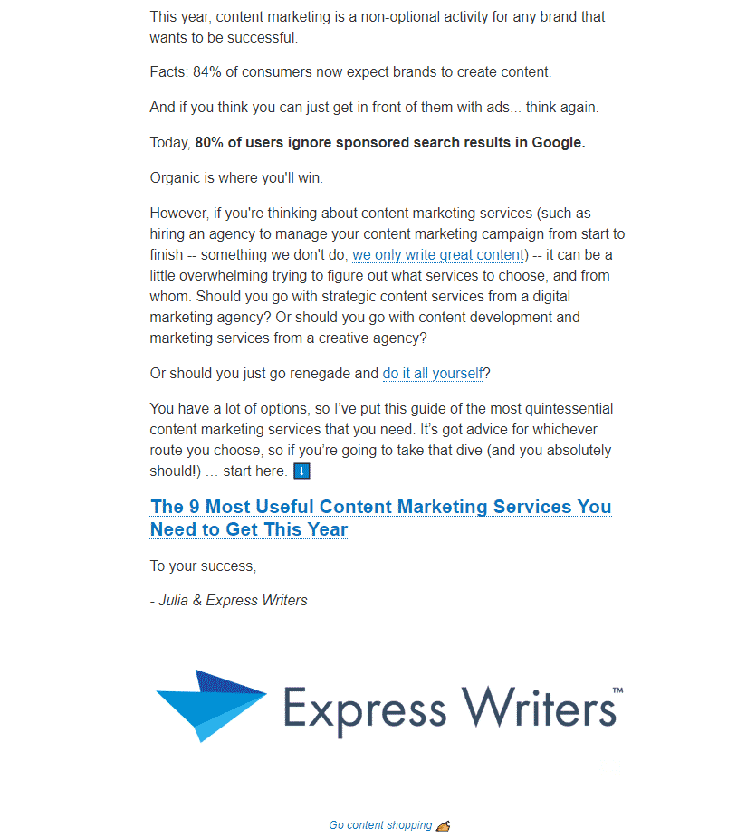 Express Writers email newsletter