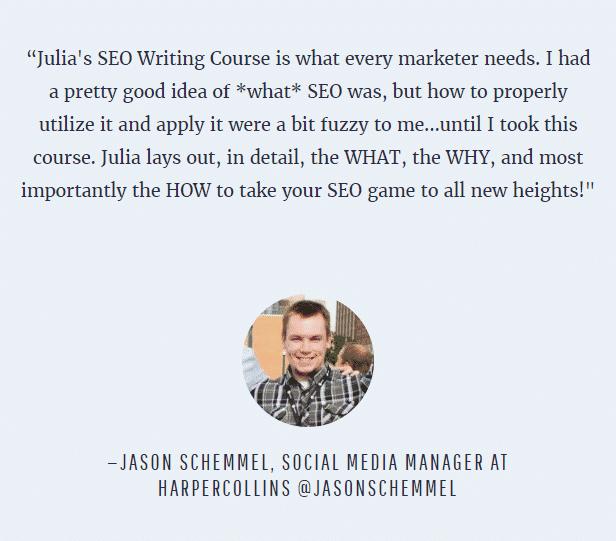 Expert SEO Content Writer Course testimonial