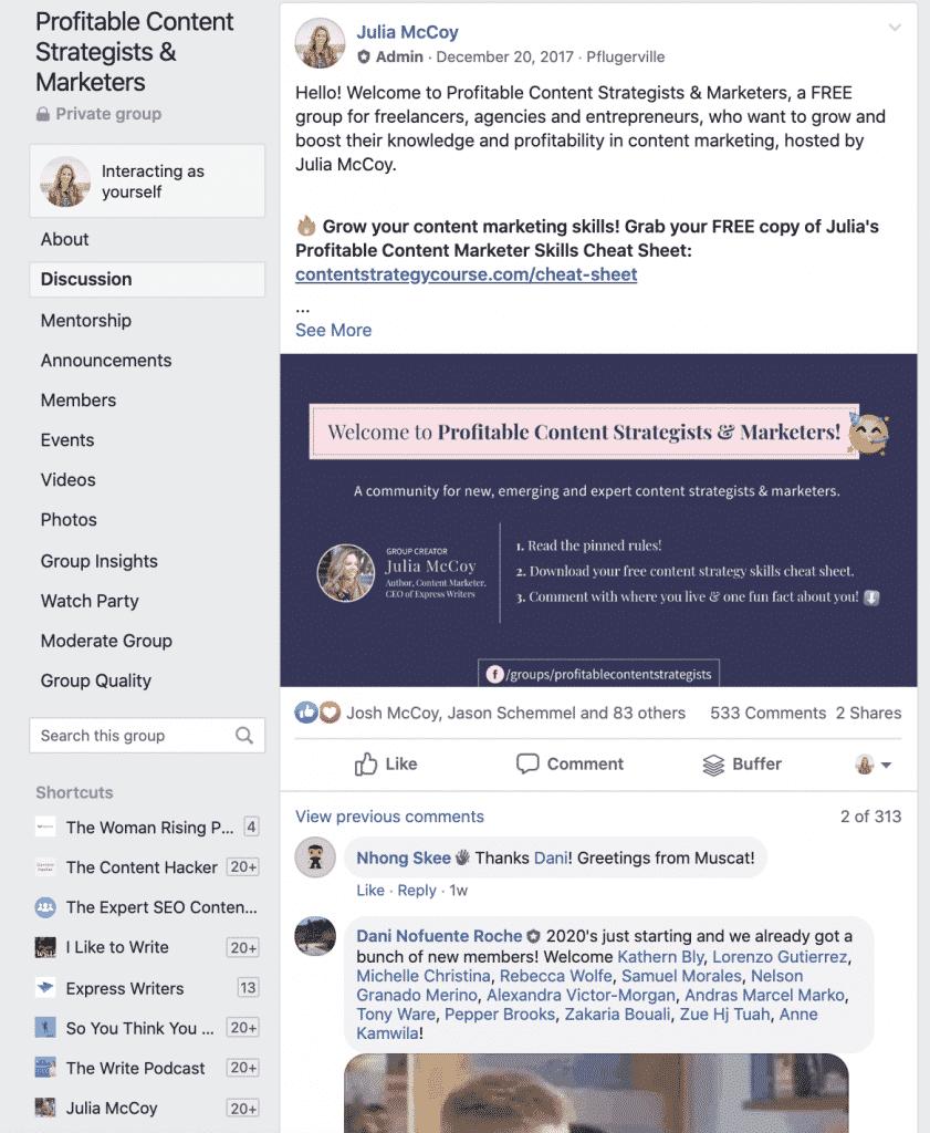 Facebook group purpose