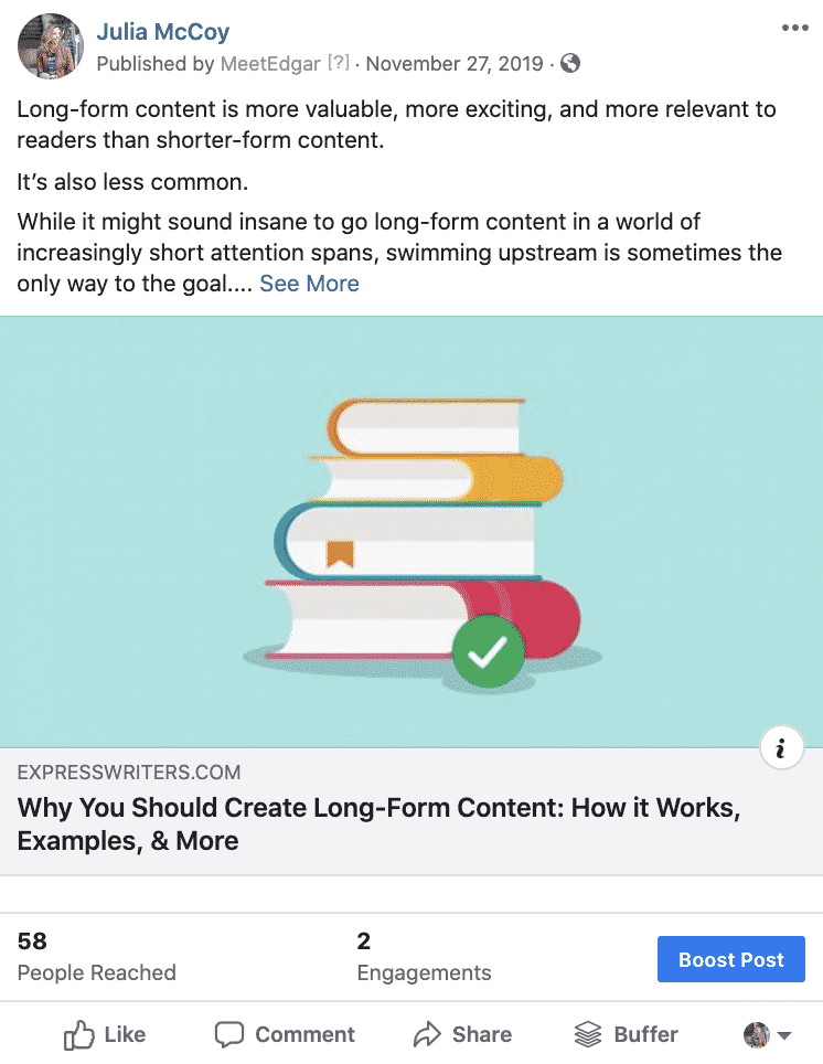 Low engagement post on Facebook