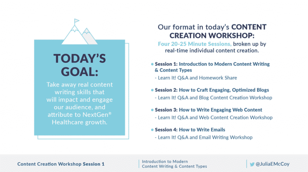 Content creation workshop slide