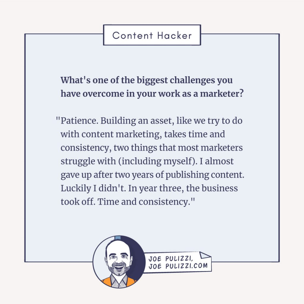 Joe Pulizzi's content marketing challenges