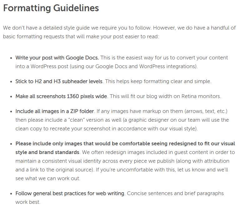coschedule formatting guidelines