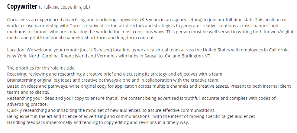 copywriting job at Guru