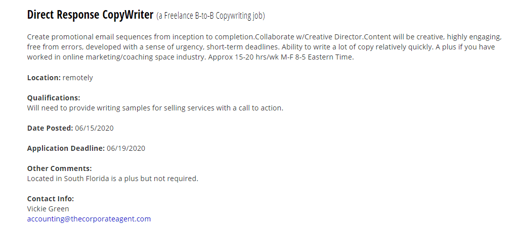 job ad for direct response copywriter