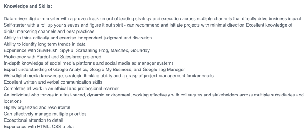 Glassdoor job post
