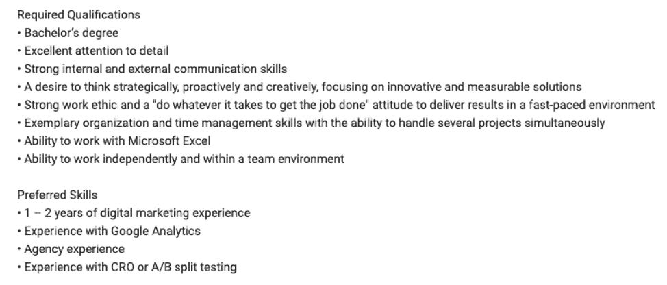 LinkedIn job post