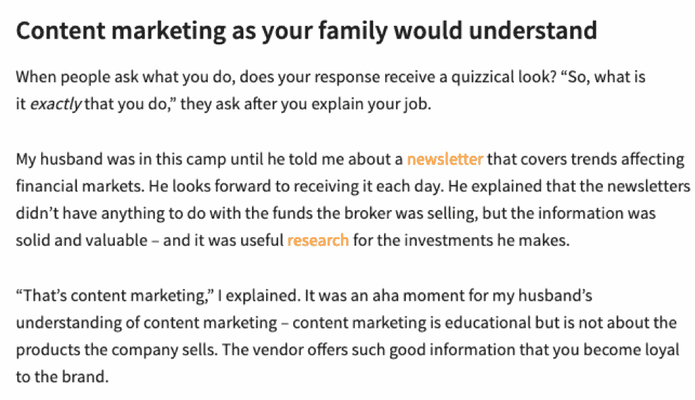 explain content marketing to your family