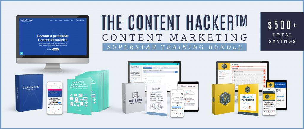 content hacker content strategy and seo writing course bundle
