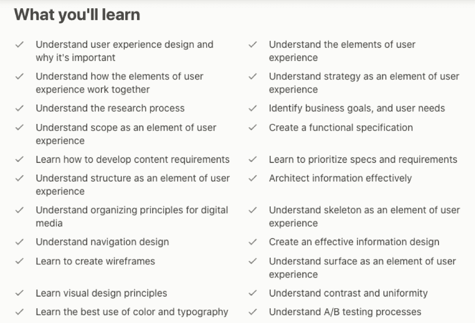 Udemy UX course