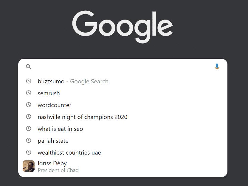 Google recent queries