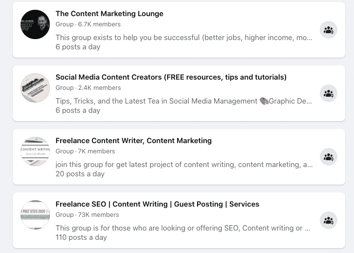 content marketing groups on Facebook