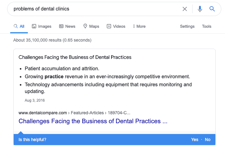 google - dental clinic problems