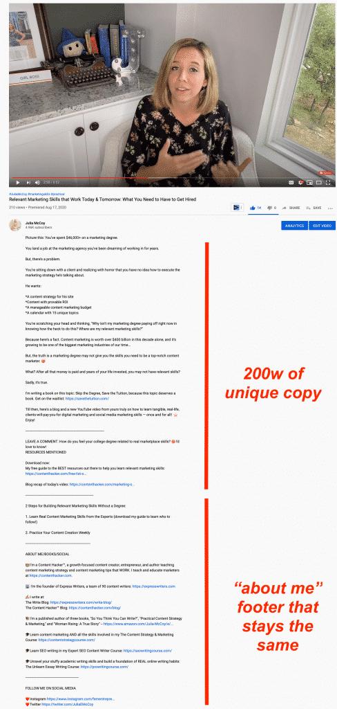 julia mcccoy youtube description text