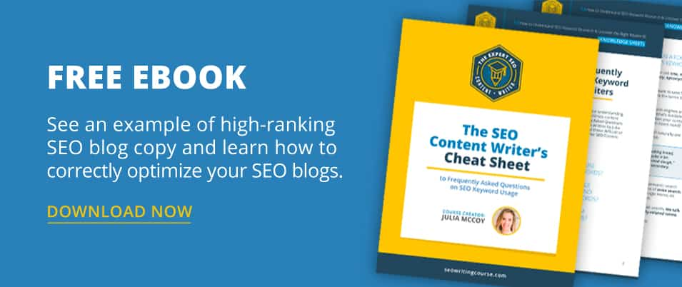 Free ebook - The SEO Content Writer's Cheat Sheet