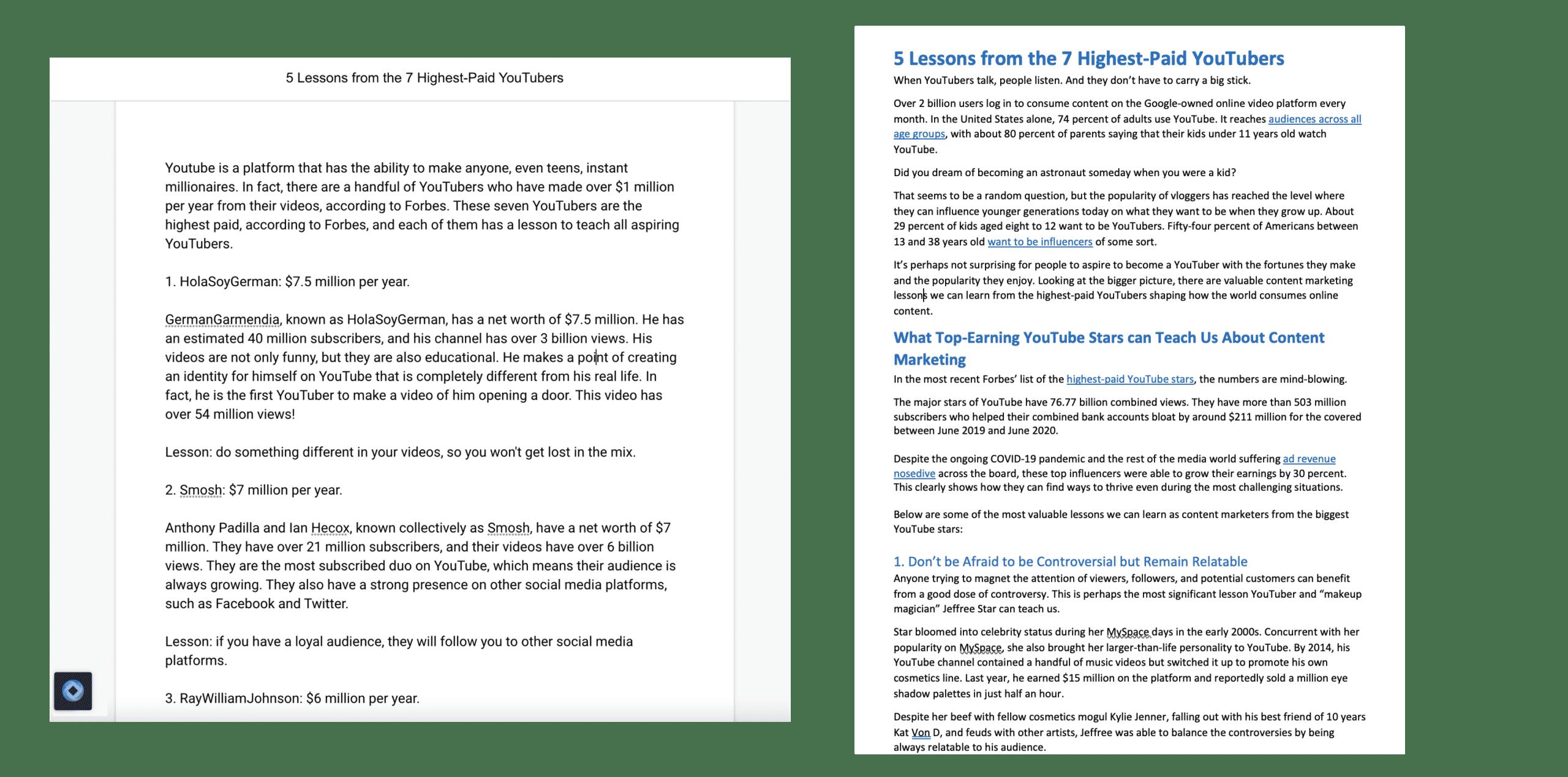 side-by-side comparison: gpt-3 vs human writer