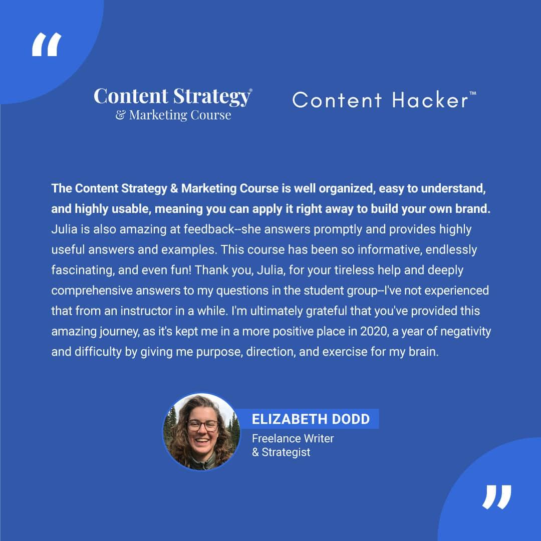 content marketing course testimonial