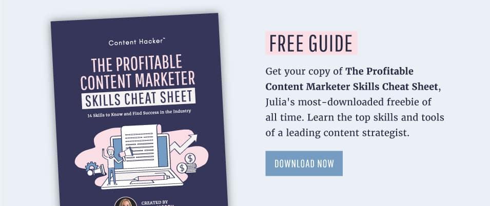 free content marketer skills cheat sheet