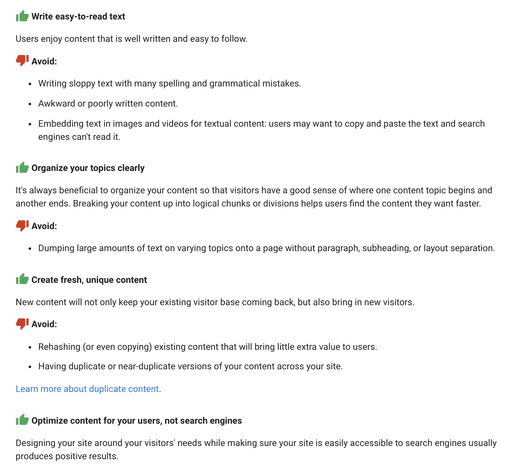 google's guidelines for useful content